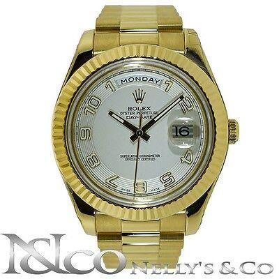 Rolex DayDate II 18K Yellow Gold Presidential Bracelet Ref 218238