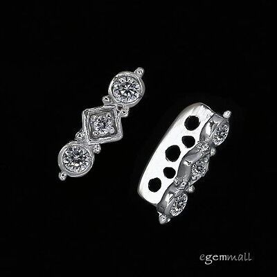 1PC Rhodium Plated Sterling Silver CZ 3 or 5 strand Spacer Bar 13mm #97903 5 Strand Spacer Bar