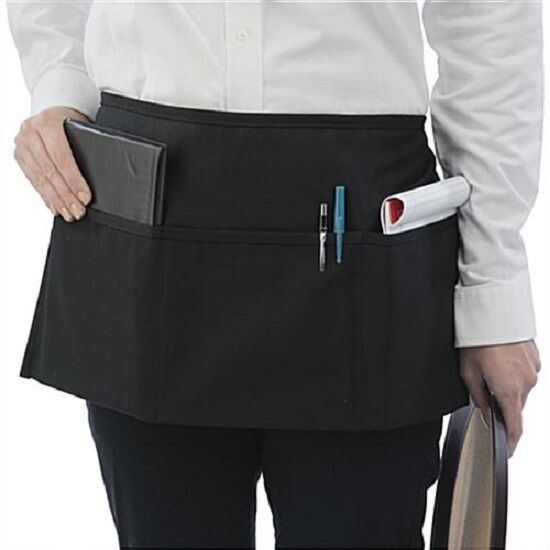 как выглядит Фартук 1 New Waitress Waiter Server 3 Pocket Waist Apron, Black 100% Commercial grade! фото