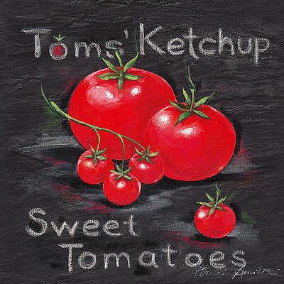 Claudia Ancilotti: Toms Ketchup Cuadro sobre Lienzo 20x20 Mural Chili Cocina