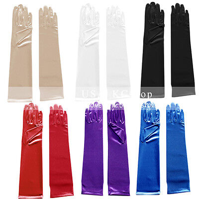 Party Gloves (New Women Satin Arm Hand Long Sleeve/Gloves Evening Party Opera Bridal)