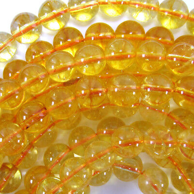 Yellow Citrine Round Beads Gemstone 15.5