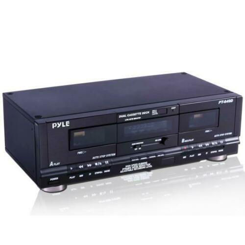 Pyle PT649D Dual Cassette Deck Recording High Speed Dubbing Noise Reduction