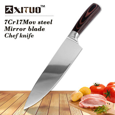 Gyuto Chef Slicer Knife Multi Purpose Kitchen Tool Wooden Brown Mirror Blade Cut