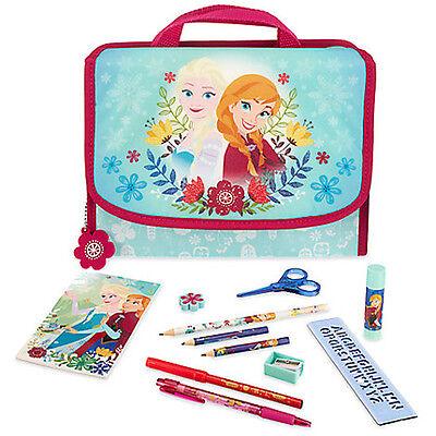 NWT Disney Store Frozen Elsa Anna Stationary Art Kit Zip-up School Supplies Case