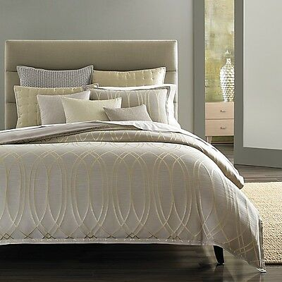 NEW Hudson Park Delano Grey Champagne QUEEN Duvet Cover MSRP $355 - NICE!