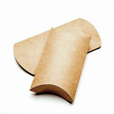 """25 Brown Kraft Pillow Boxes; 3 x 1 x 5 """" for Gifts/Packaging; Can Be Embellished"""