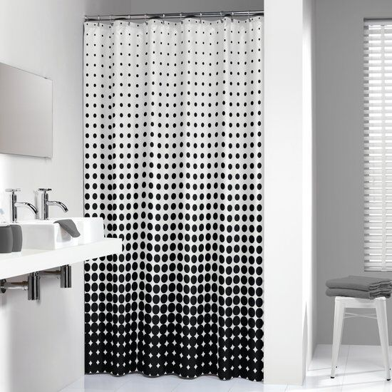 Extra Long Shower Curtain 72 X 78 Inch Sealskin Speckles Black