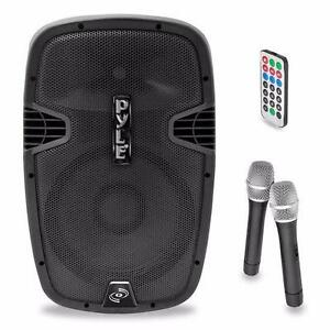 PYLEPRO PPHP159WMU 15'' 1600 WATT BLUETOOTH PORTABLE PA / DJ Powered Speaker  RECHARGEABLE BATTERY, with 2 WIRELESS MICS