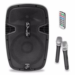 PYLEPRO PPHP159WMU 15'' 1600 WATT BLUETOOTH PORTABLE PA / DJ Powered Speaker  RECHARGEABLE BATTERY, with 2 WIRELESS MICS