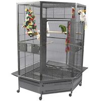 Very large corner parrot cage (+ large playstand)