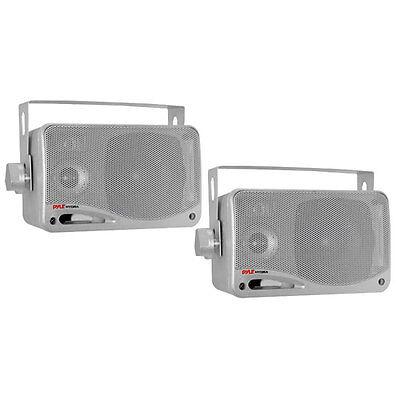 "2) PYLE PLMR24S 3.5"" 200 Watt Marine Audio Water Proof Mini-Box Speaker System on Rummage"