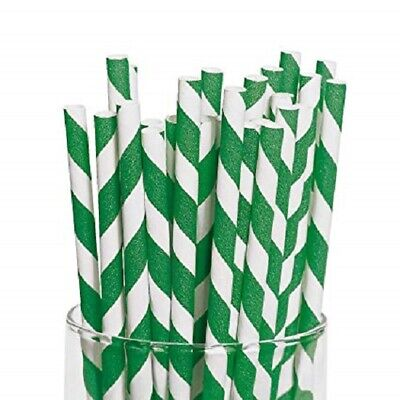 Green And White Striped Paper Straws 8