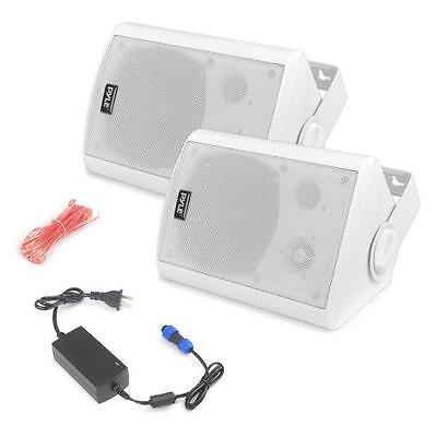 Pair of Wall Mount Waterproof/Bluetooth 5.25 In/Outdoor Speakers Pyle PDWR51BTWT