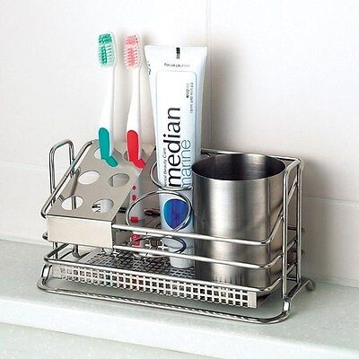 Stainless Steel Premium Toothbrush Toothpaste Cup Holder