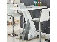 Axara Bar Table Rectangular In White And Grey High Gloss