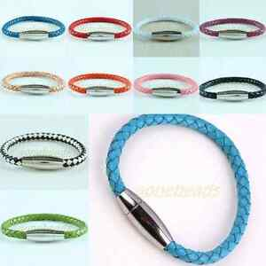 Braided-Rope-PU-Leather-Magnetic-Stainless-Steel-Clasp-Bracelet-Bangle-Wristband