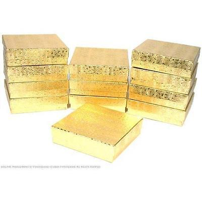 100 Gold Cotton Filled Jewelry Craft Gift Boxes 3 12