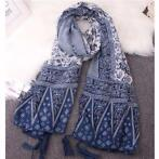 Women Lades Pashmina Blue Totem Tassel Cotton Blend Scarv...