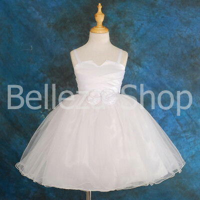 (Satin Tulle Dress Wedding Flower Girl Pageant Christening Baby Kid 12m-8 FG012)