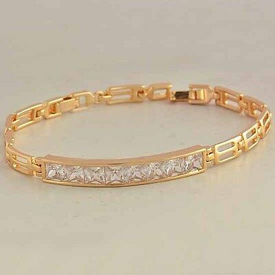 Gorgeous 9K Real Gold Filled Flawless Cubic Zirconia Womens Bracelet,F001 on Rummage