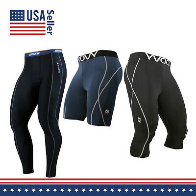 COOVY Sports Compression Under Base Layer Skins Shorts 3/4 Tights Running pants