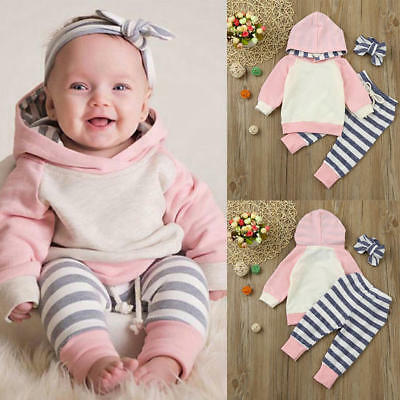 3PCS Toddler Baby Girls Outfits Set Clothes Hoodie Tops+Pants+Headband Hoodies