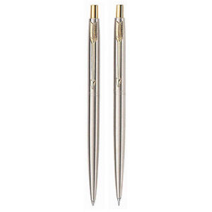 Vintage Parker Classic Stainless and Gold Trim Pen and Pencil Set USA New NIB