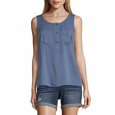 a.n.a. Women's Sleeveless Blouse Shirt X-LARGE Bijou Blue Chest Pockets New
