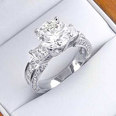 New 2.15 Ct Round Cut Diamond Engagement Ring Princess Cut Accents H,VS1 GIA