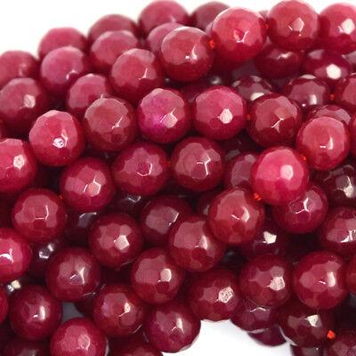 Red Jade Gemstone (Faceted Ruby Red Jade Round Beads Gemstone 15