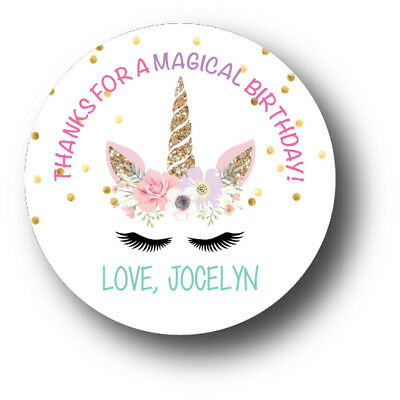 30 Magical Unicorn Face Personalized Birthday Party Favors Treat Bag Stickers - Personalized Party Bags