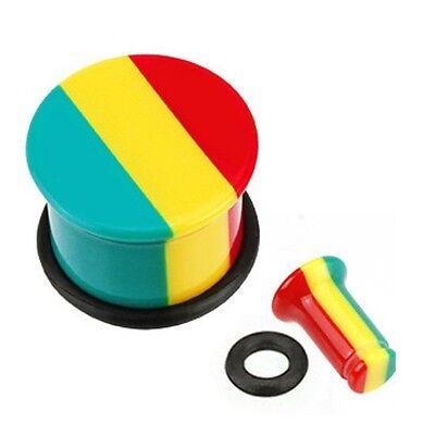 (PAIR (2) Acrylic Jamaican Rasta Stripe EAR PLUGS Single Flared GAUGES UV Earring)