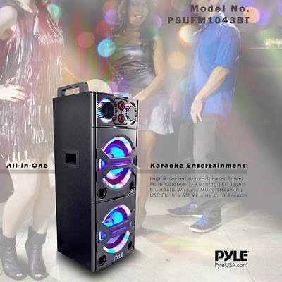 NEW Pyle PSUFM1043BT Bluetooth MP3/USB/SD/FM PA Speaker Karaoke System w/ Mic
