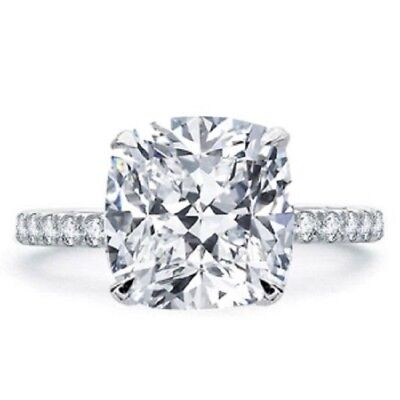 Conflict Free 1.70 Ct Cushion Cut Diamond Pave Engagement Ring GIA G,VS2 14K WG 2