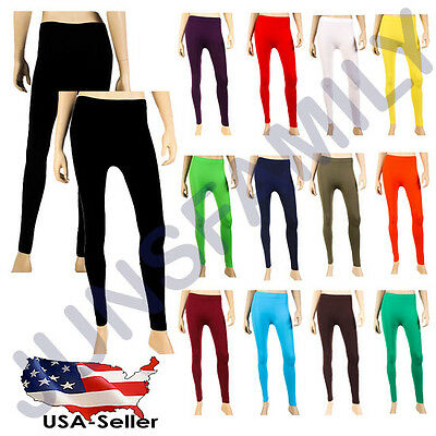 Women Solid YOGA GYM Full Length Legging Stretch Slim Skinny One Size Pants Long - Long Length Pant
