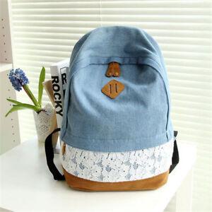 hot Girl's Denim Canvas Backpack high quality Rucksack Satchel School casual