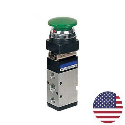 Msv-86522pb 52 Way Mushroom Head Button In Green 14 Npt Pneumatic Valve