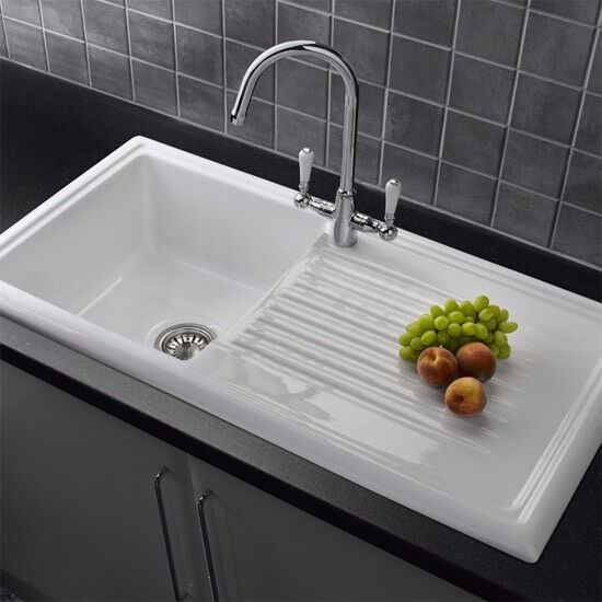 COOKE & LEWIS BURBANK 1 BOWL WHITE CERAMIC SINK RRP £187 | in ...