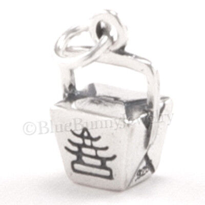 Chinese Food Box (Chinese Charm TAKE OUT charm Pendant Food Dinner BOX Asian STERLING SILVER)