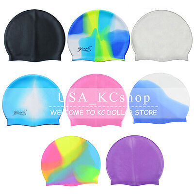 New Universal Adult Flexible Durable Silicone Elasticity Swim Cap Swimming - Adult Universe
