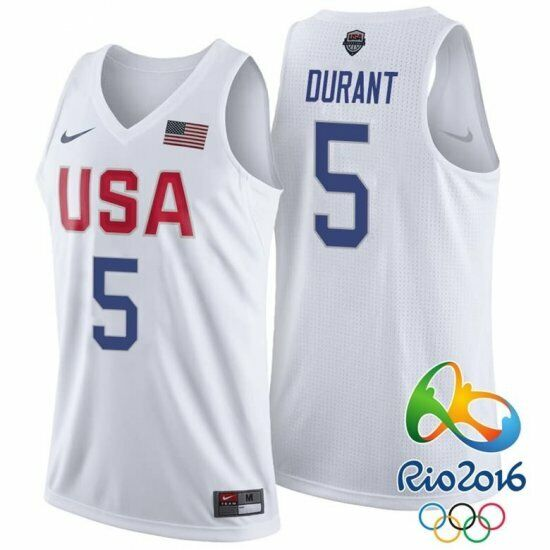 online retailer 95ec6 3ca7f NWT Kevin Durant #5 Rio Olympics 2016 Team USA Stitched Jersey -White