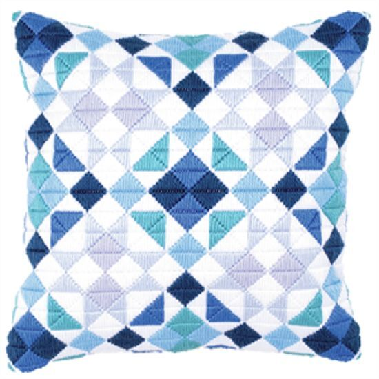 Blue Triangles - Long Stitch Printed Canvas Cushion Kit-Cross Stitch-Tapestry