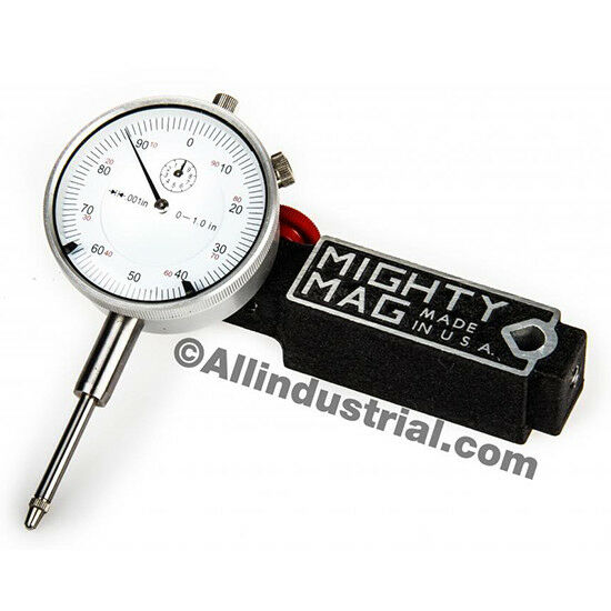 """MIGHTY MAG + 0-1"""" DIAL INDICATOR COMBO SET INSPECTION HOLDER MAGNETIC BASE KIT"""