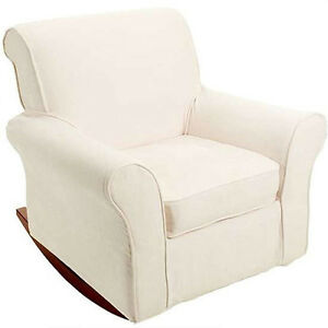 ... Rocking Chair Rocker and Beige Cream Slipcover Cover Nursery  eBay