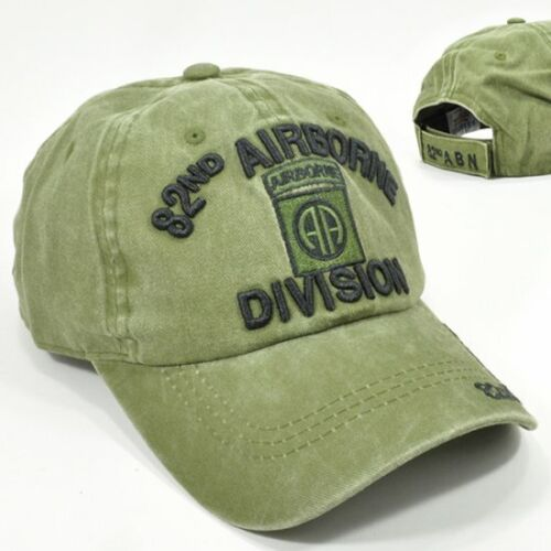 82nd Airborne Division OD Green US Army Cap Hat Cotton Low Profile Vintage 82AB