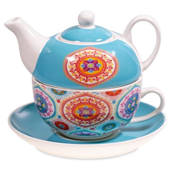 Tee for one Set Mandala BLAU mit Kanne, Tasse und Teller Bone China Porzellan