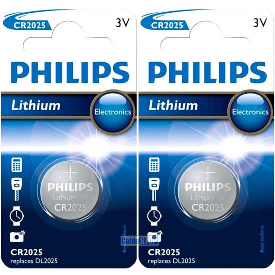 2 x Philips CR2025 3V Lithium Button Battery Coin Cell DL2025 for Car Key Fobs