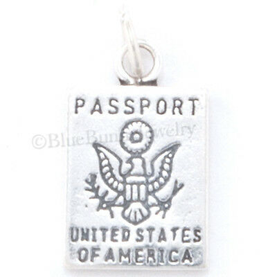 PASSPORT Solid 925 Sterling Silver United States of America Travel Pendant Charm