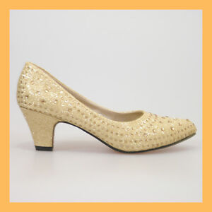 WOMAN-SHOES-GOLD-GLITTER-DIAMANTES-MID-HEEL-PUMPS-WEDDING-EVENING-PARTY